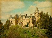 Retro image of Blair Drummond house, Scotland,UK.  Added papper texture