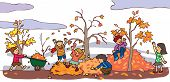 Children Having A Good Time In Autumn Landscape (vector)