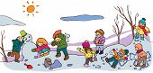 stock photo of snow clouds  - Children having a good time in winter landscape with snow create by vector - JPG