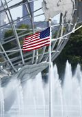 American flag in the front of 1964 New York World s Fair Unisphere