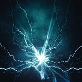stock photo of lightning  - Electric lighting effect abstract techno backgrounds for your design - JPG