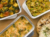 picture of sag  - IndiantakeawayCurry Chicken Korma Indian Food Mushroom Pilau Naan Sag Aloo Take Away Assortment Chicken Color Colour Image Container Dinner Fast Food Flat Bread Food Four Objects Horizontal Indian Indoors Inside Korma Lunch Naan Bread No People Pilau Rice - JPG