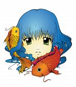 foto of koi  - Anime girl with koi carp in long blue hair - JPG