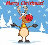 stock photo of rudolph  - Merry Christmas Greeting With Rudolph Reindeer Cartoon Character - JPG