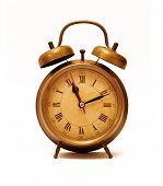 pic of tick tock  - Vintage alarm clock isolated on white - JPG