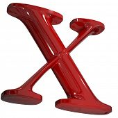 3d shiny red letter collection - X