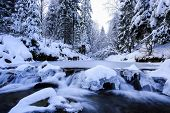 Winter river in Beskid mountains, Poland