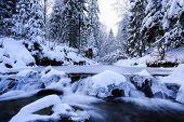Winter river in Beskid mountains, Poland