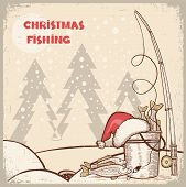 Successful Fishing In Christmas Holiday.vector Winter Card Background