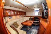 NORWALK, CT - SEPTEMBER 19: Boat interior from Sunseeker Camargue 50  in Norwalk boat show 2013 Sept