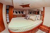 NORWALK, CT - SEPTEMBER 19: Boat interior from Norwalk boat show 2013 September 19, 2013 in Norwalk,