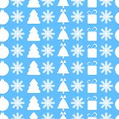 Christmas Seamless Pattern.new Year Background.white Christmas Symbols On A Blue Background.vector