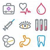 Medicine web icons set 1, color line contour series