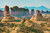 stock photo of dune  - Petrified Sand Dunes Garden of Eden Windows Section La Salle Mountains Arches National Park Moab Utah USA Southwest - JPG