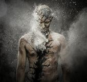foto of holistic  - Man with conceptual spiritual body art - JPG