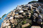 Summer landscape of rocky sea coast. Japan sea. Fish-eye lens.