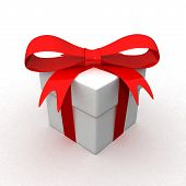 Gift box with red ribbon bow isolated on white background