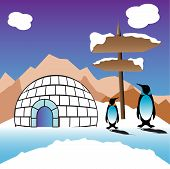 picture of igloo  - Abstract colorful background with an igloo made from ice - JPG