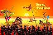 stock photo of ravan  - vector illustration of Rama killing Ravana in Dussehra - JPG