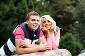 beautyful teen couple in the park
