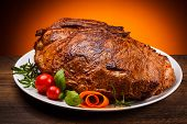 stock photo of pork cutlet  - Roasted meat and vegetables - JPG