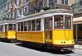 Yellow Trams In Lisbon