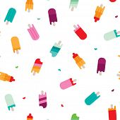 Seamless cold ice cream hot summer illustration background pattern in vector