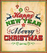 Vintage Retro Merry Christmas Poster