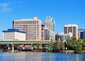 Orlando Lake Lucerne panorama in the morning with office buildings and bridge