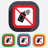No Graffiti spray can sign icon. Aerosol paint.