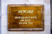 Warning Sign At Horseguards Parade In London