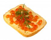 Sandwich With Red Caviar With A Sprig Of Dill