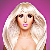 stock photo of barbie  - Portrait of a beautiful adult woman with long white straight hairs - JPG