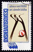 Postage Stamp Czechoslovakia 1978 Tire Tracks And Ball, Road Saf