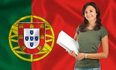 Female Student Over Portuguese Flag