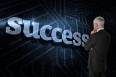 The word success and thoughtful businessman standing back to camera against futuristic black and blu