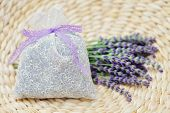 potpourri bag with fresh lavender flowers