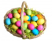 Easter Basket full of Colored Eggs