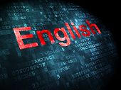 Education concept: English on digital background