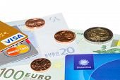 Credit And Tax Free Cards On Euro Banknotes With Coins