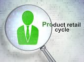Advertising concept: Business Man and Product retail Cycle with optical glass