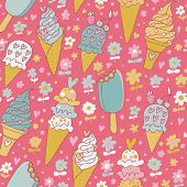 Tasty seamless pattern made of yummy ice cream in gentle colors in vector.