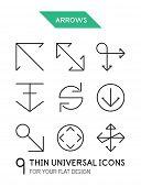 Arrow thin line icon set - 9 computer symbols for your flat design