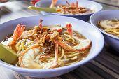 Hokkien Soup Prawn Noodles Bowls Closeup