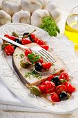 stock photo of swordfish  - swordfish with tomatoes capers and olive - JPG
