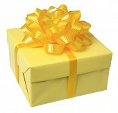 yellow present with yellow bow on white background