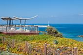 Promenade and viewpoint overlooking calm Mediterranean sea in Ashqelon, Israel.