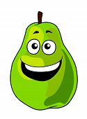 Fresh happy laughing green cartoon pear fruit