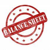 Red Weathered Balance Sheet Stamp Circles And Stars