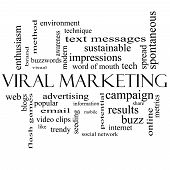 Viral Marketing Word Cloud Concept In Black And White